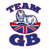 De zitting van de Leeuw van het team GB op Union Jack Royalty-vrije Stock Foto