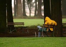 De zitting van de mens op parkbank. Daklozen? Stock Afbeeldingen