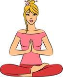De zitting van de vrouw in de positie van de yogalotusbloem. vector illustratie