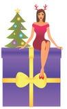 De zitting van de vrouw op een doos Stock Afbeelding