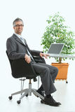 De zitting van de zakenman bij bureau Royalty-vrije Stock Afbeelding