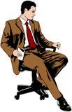 De zitting van de zakenman op bureaustoel Royalty-vrije Stock Afbeeldingen