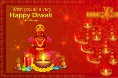 De zitting van godinlakshmi op lotusbloem voor Gelukkige Diwali-vakantie van India Royalty-vrije Stock Foto