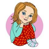 De zitting van het babymeisje, die haar benen, kleuter, heldere kleur koesteren Vector tekening stock foto
