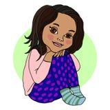 De zitting van het babymeisje, die haar benen, kleuter, heldere kleur koesteren Vector tekening stock foto's