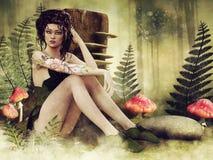 De zitting van het feemeisje op een paddestoelweide royalty-vrije illustratie