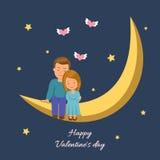 De zitting van het liefdepaar op de maan De conceptenachtergrond voor de Dag van Valentine royalty-vrije illustratie