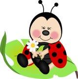 De zitting van het lieveheersbeestje op een groen blad Stock Fotografie