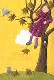 De zitting van het meisje op een boom in de herfst Stock Foto