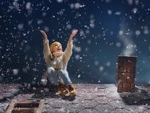 De zitting van het meisje op het dak Stock Foto