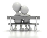 De zitting van het paar samen op parkbank Stock Afbeelding