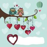 De zitting van het uilenpaar op een tak met hart Stock Afbeeldingen