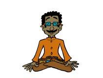 De zitting van karakterraj in lotusbloempositie het praktizeren yoga of meditatie royalty-vrije illustratie