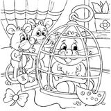 De zitting van muizen en van de kat in een kooi Royalty-vrije Stock Foto's