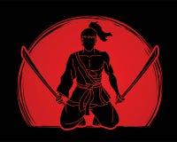 De zitting van de samoeraienstrijder met grafisch zwaardenbeeldverhaal royalty-vrije illustratie