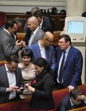 In de zittingszaal van Verkhovna Rada van de Oekraïne stock fotografie
