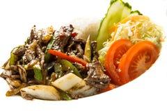 De zoete Filet van het Rundvlees van de Soja met Noedels Shirakaki op Ri Stock Foto's