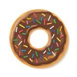 De zoete heerlijke chocolade bestrooit doughnut stock fotografie