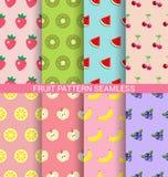 De zoete reeks van het fruit naadloze patroon Stock Afbeeldingen