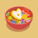 De zoete suikergoed vlakke die pictogrammen in vorm van cirkel met geassorteerde chocolade kleurrijke lollys worden geplaatst iso vector illustratie