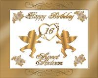 De zoete Uitnodiging van Zestien Verjaardag Stock Fotografie