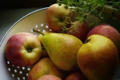 de zoete vruchten van het de vaas gezonde voedsel van appelenpruimen witte vegetarische landbouw still_life Stock Foto's