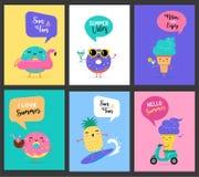 De zoete zomer - het leuke roomijs, de watermeloen en donuts de karakters maken pret royalty-vrije illustratie