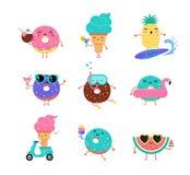 De zoete zomer - het leuke roomijs, de watermeloen en donuts de karakters maken pret stock illustratie