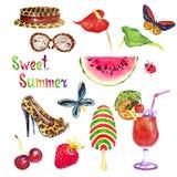 De zoete de zomerwaterverf isoleerde illustratiereeks, hoed, zonnebril, stilettoschoenen, kers, aardbei, watermeloen, roomijs royalty-vrije illustratie
