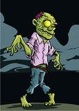 De zombie van het beeldverhaal met bewolkte nachthemel Royalty-vrije Stock Afbeelding