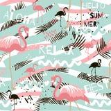 De zomer abstract naadloos patroon met flamingo vector illustratie