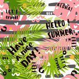 De zomer abstract naadloos patroon met tropische bladeren stock illustratie