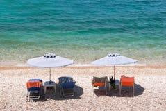 De zomer abstracte achtergrond van tropisch strand in Ionische overzees stock foto