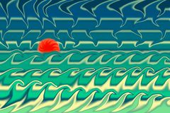 De zomer abstracte moderne achtergrond Golvenhemel en zon vector illustratie