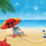 De zomer achtergrondillustratie in het strand stock illustratie