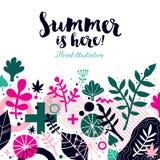 De zomer achtergrondmalplaatje met abstracte en bloemenelementen Kan voor reclame en uitnodigingen worden gebruikt vector illustratie