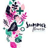 De zomer achtergrondmalplaatje met abstracte en bloemenelementen Kan voor reclame en uitnodigingen worden gebruikt royalty-vrije illustratie