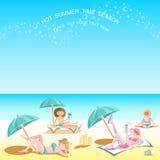 De zomer achtergrondmensen op het strand Royalty-vrije Stock Foto's