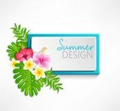 De zomer blauw kader Stock Afbeeldingen