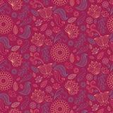 De zomer bloemen naadloos patroon in vector Kleurrijke eindeloze achtergrond met bloemen en bladeren royalty-vrije illustratie