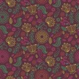 De zomer bloemen naadloos patroon in vector Kleurrijke eindeloze achtergrond met bloemen en bladeren stock illustratie