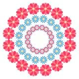 De zomer bloemen rond ornament op een witte achtergrond Royalty-vrije Stock Foto