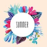 De zomer bloemen ronde druk vector illustratie