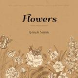 De zomer bloemen uitstekende vectorachtergrond Royalty-vrije Stock Foto