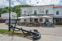 De zomer café, Plyos, het gebied van Ivanovo, 5 Juli, 2014 Stock Foto's