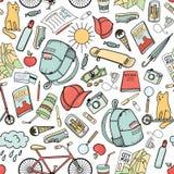 De zomer in de stad: kleurrijk hand getrokken krabbel naadloos patroon Stock Afbeeldingen
