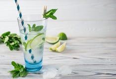 De zomer detox gezond organisch verfrissend water met citroen, kalk en munt stock fotografie