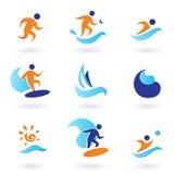 De zomer die en het surfen pictogrammen - blauw, sinaasappel zwemt Stock Foto's