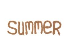 De zomer die met zand wordt geschreven Stock Afbeeldingen