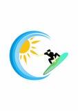 De zomer die, Surferembleem surfen stock illustratie